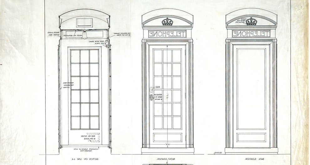 Design for GPO telephone kiosk number 2: plan, elevations 和 section